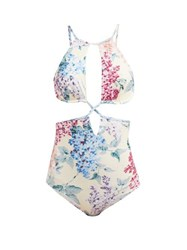 Ephemera Bloom Printed Cut Out Swimsuit Blue Print