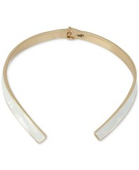Kenneth Cole New York Gold Tone White Shell Inspired Hinged Collar Necklace