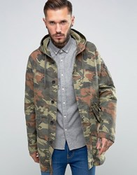 Asos Lightweight Fishtail Parka In Camouflage Print Green