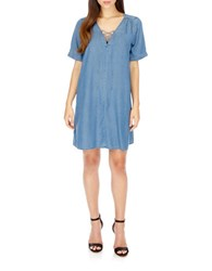 Lucky Brand Lace Up V Neck Dress Medium Wash