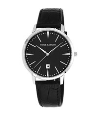 Vince Camuto Silvertone Round Watch With Leather Strap Black