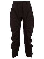 Stella Mccartney Tina Cropped Ruched Twill Trousers Black