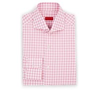 Isaia Checked Cotton Poplin Dress Shirt Pink