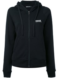 Haus By Ggdb Long Sleeve Zip Front Logo Hoodie Women Cotton S Black