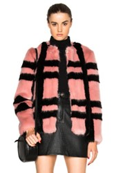 Shrimps Gustav Faux Fur Coat In Pink Checkered And Plaid Pink Checkered And Plaid