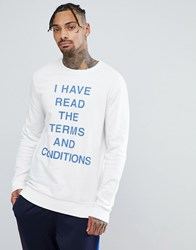 Your Turn Yourturn Terms And Conditions Slogan Sweatshirt In White Off White