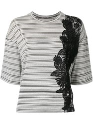 Antonio Marras Lace Detail Striped T Shirt Black