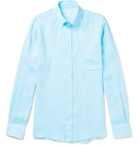 Richard James Button Down Collar Slub Linen Shirt Blue
