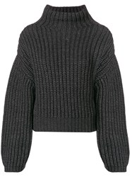 Lanvin Ribbed Knit Gathered Sleeve Sweater Grey