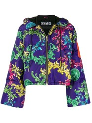 Versace Jeans Couture Baroque Print Puffer Jacket Purple
