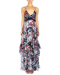 Mary Katrantzou Floral Print Spaghetti Strap Maxi Dress Women's Size 6 Uk 2 Us White