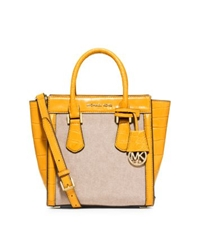 Michael Kors Colette Medium Leather Trimmed Canvas Messenger Ecru Yellow