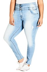 City Chic Plus Size Women's Harley Vibes Ripped Corset Skinny Jeans Light Indigo