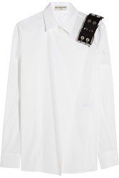 Balenciaga Leather Trimmed Cotton Poplin Shirt