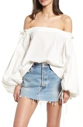 Kendall Kylie Off The Shoulder Top Bright White