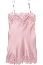 I.D. Sarrieri Tendresse Chantilly Lace Trimmed Silk Blend Satin Chemise Pastel Pink