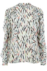 Warehouse Zig Zag Print Ruffle Blouse Multi Coloured
