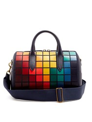 Anya Hindmarch Vere Barrel Pixels Suede And Leather Bag Navy Multi