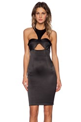 Shakuhachi Bustier Cut Out Halter Dress Black