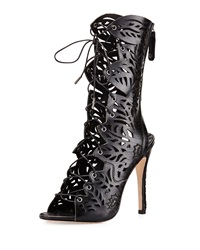 Alice Olivia Georgia Laser Cut Leather Boot Black