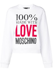 Love Moschino Slogan Print Sweatshirt White