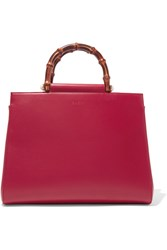 Gucci Nymphea Bamboo Medium Leather Tote Red