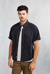 Cpo Denim Short Sleeve Button Down Shirt Washed Black