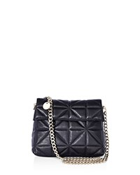 Karen Millen Quilted Leather Shoulder Bag Black Silver