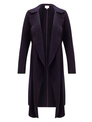 East Boiled Wool Waterfall Coat Purple