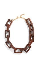 Kenneth Jay Lane Wooden Square Link Necklace Brown