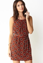 Forever 21 Stained Glass Shift Dress Red Navy