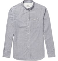 Officine Generale Striped Cotton Oxford Shirt Blue