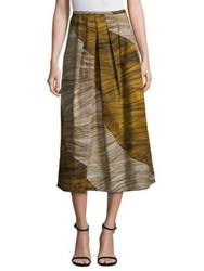 Piazza Sempione Cotton Colorblock Skirt Green Beige