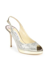 Jimmy Choo Nova Glitter Covered Leather Peep Toe Pumps Champagne