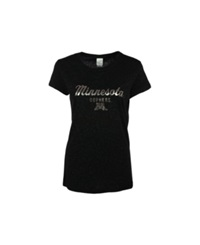 J America Women's Minnesota Golden Gophers Metallic T Shirt Black Silver