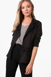 Boohoo Lace Detail Collared Blazer Black
