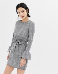 Parisian Check Dress With Flare Sleeve And Tie Waist Black Whitecheck