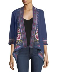 Johnny Was Langley French Terry Draped Cardigan Plus Size Navy