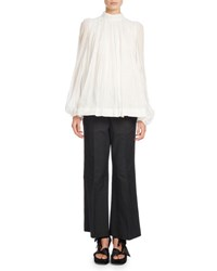 Dries Van Noten Coady Pleated Mock Neck Blouse White