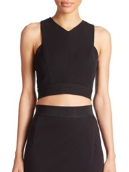 Abs By Allen Schwartz Cross Back Crop Top Ivory Black