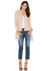 Autumn Cashmere Zip Rib Drape Cardigan Tan