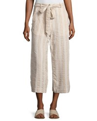 Neiman Marcus Tie Belt Wide Leg Linen Blend Crop Pants Khaki