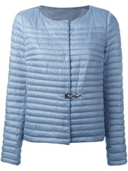 Fay Collarless Puffer Jacket Blue