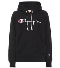 Champion Logo Cotton Hoodie Black