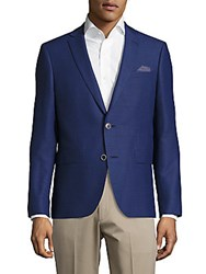 Sand Notch Lapel Wool Blazer Blue