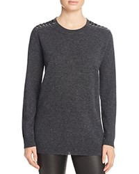 Bloomingdale's C By Lace Up Shoulder Cashmere Sweater Onyx