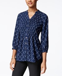 Charter Club Petite Anchor Print Pintucked Shirt Only At Macy's Intrepid Blue