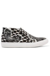 Pierre Hardy Printed Coated Canvas Slip On Sneakers Black