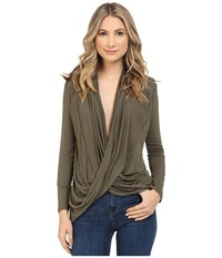 Culture Phit Cowl Neck Long Sleeve Top Olive Women's Clothing