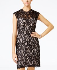 Sequin Hearts Juniors' Lace Bodycon Dress Black Nude